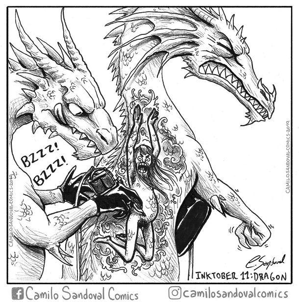 Смішний малюнок про драконів. Один дракон робить татуювання іншому -малює оголеного чоловіка
