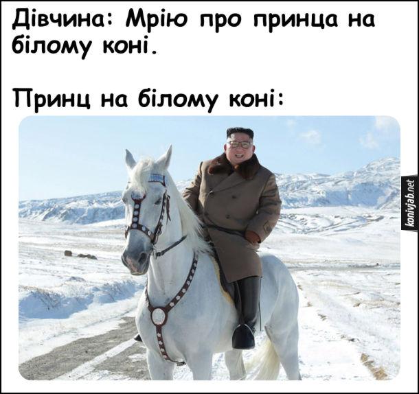 Дівчина: Мрію про принца на білому коні. Принц на білому коні: Кім Чен Ин на коні
