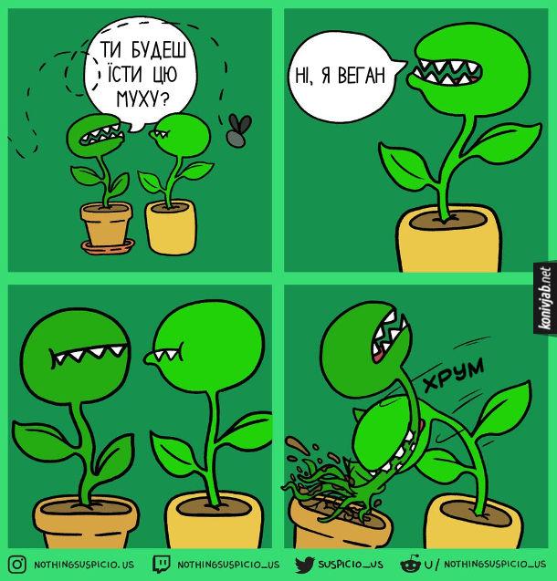 Смішний комікс Рослини хижаки. Дві рослини (виду Венерина мухоловка). Перша рослина: - Ти будеш їсти цю муху? Друга рослина: - Ні, я веган (і після цього крумкнула першу)