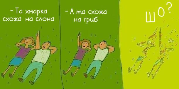 Чорний гумор про ядерний вибух. Лежать на галявині хлопець і дівчина. - Та хмарка схожа на слона. - А та схожа на гриб. - Шо? (перетворились на скелети)
