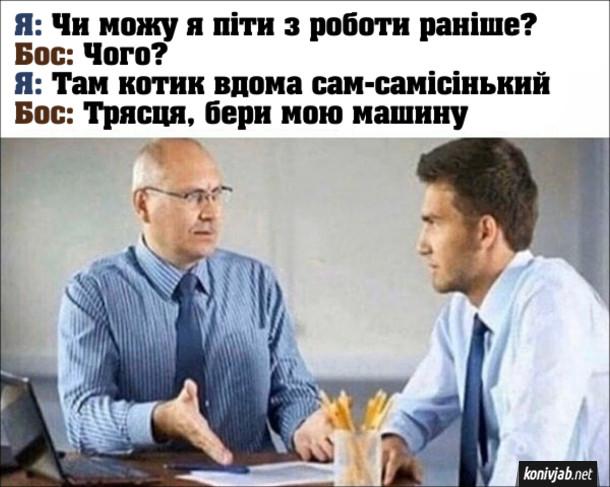 Прикол Як відпроситися з роботи. Я: Чи можу я піти з роботи раніше? Бос: Чого? Я: Там котик вдома сам-самісінький. Бос: Трясця, бери мою машину