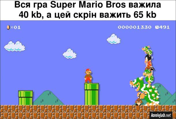 Цікавий факт про Супер Маріо. Вся гра Super Mario Bros важила 40 kb, а цей скрін важить 65 kb.