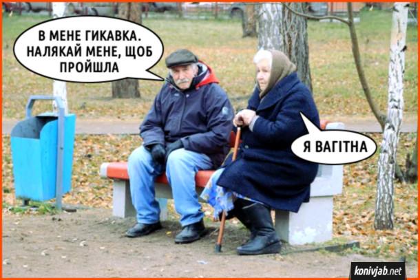 Прикол Дід і баба сидять в парку на лавці. Дід: - В мене гикавка, налякай мене, щоб пройшла. Баба: - Я вагітна.