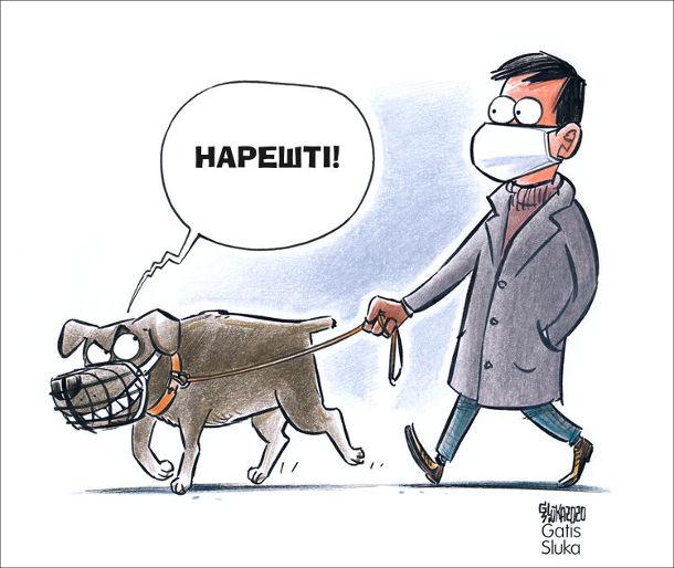 Смішний малюнок На прогулянці з собакою під час пандемії. Чоловік гуляє з собакою. Собака в наморднику поглядає на господаря в масці і зловтішно каже собі: Нарешті!