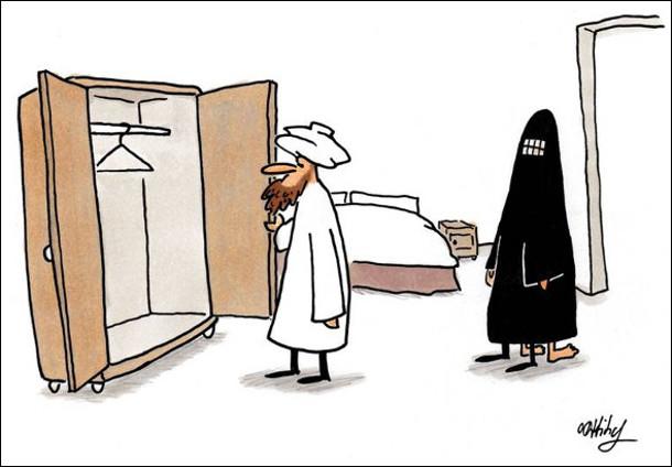 Смішний малюнок Чоловік мусульманин повернувся з відрядження і заглядає до шафи - чи бодай не сховався коханець. А коханець сховався під хіджабом дружини