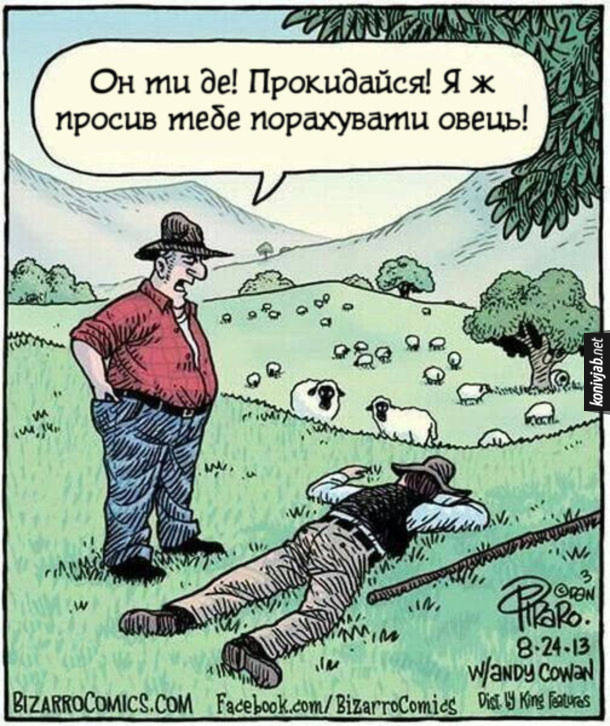 Смішний малюнок Вівчар. Он ти де! Прокидайся! Я ж просив тебе порахувати овець!