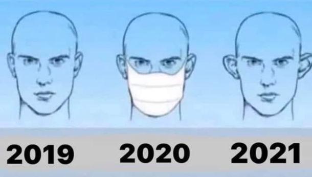 Прикол про носіння масок. В 2021 році після року носіння масок, вуха стирчать