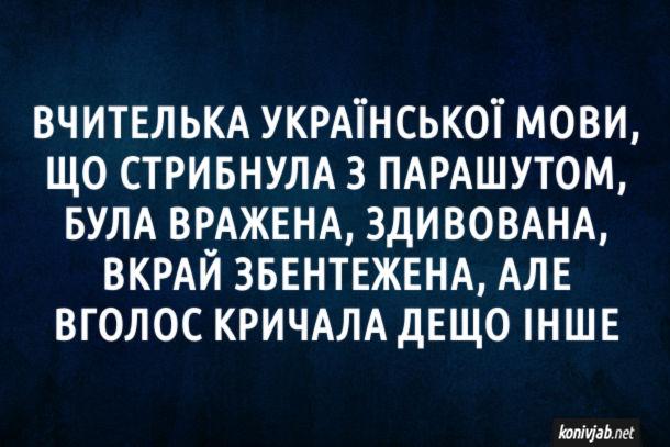 Анекдот Вчителька української мови, що стрибнула з парашутом, була вражена, здивована, вкрай збентежена, але іголос кричала дещо інше