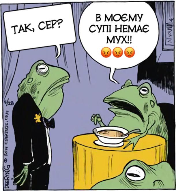 Смішний малюнок про жаб. В ресторані. Офіціянт: - Так, сер? Клієнт: - В моєму супі немає мух!!