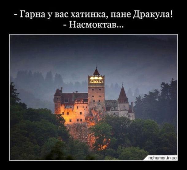 Анекдот про Дракулу. - Гарна у вас хатинка, пане Дракула! - Насмоктав...