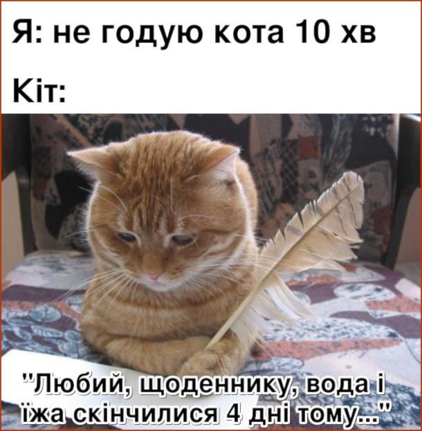 """Мем Кіт хоче їсти. Я: не годую кота 10 хв. Кіт: """"Любий щоденнику, вода і їжа скінчилися 4 дні тому..."""""""
