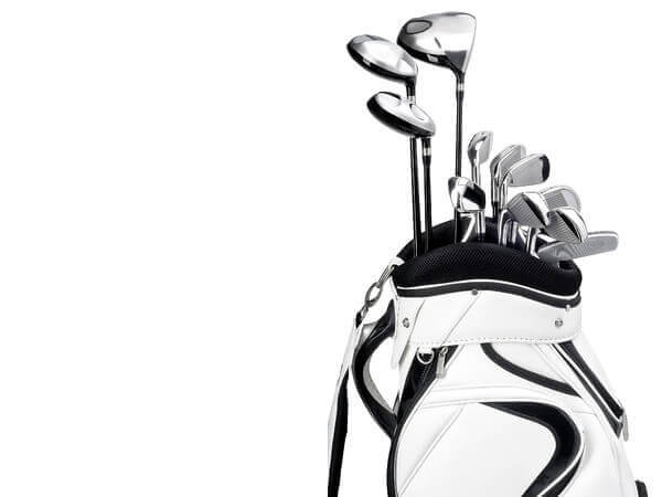 white golf bag and clubs