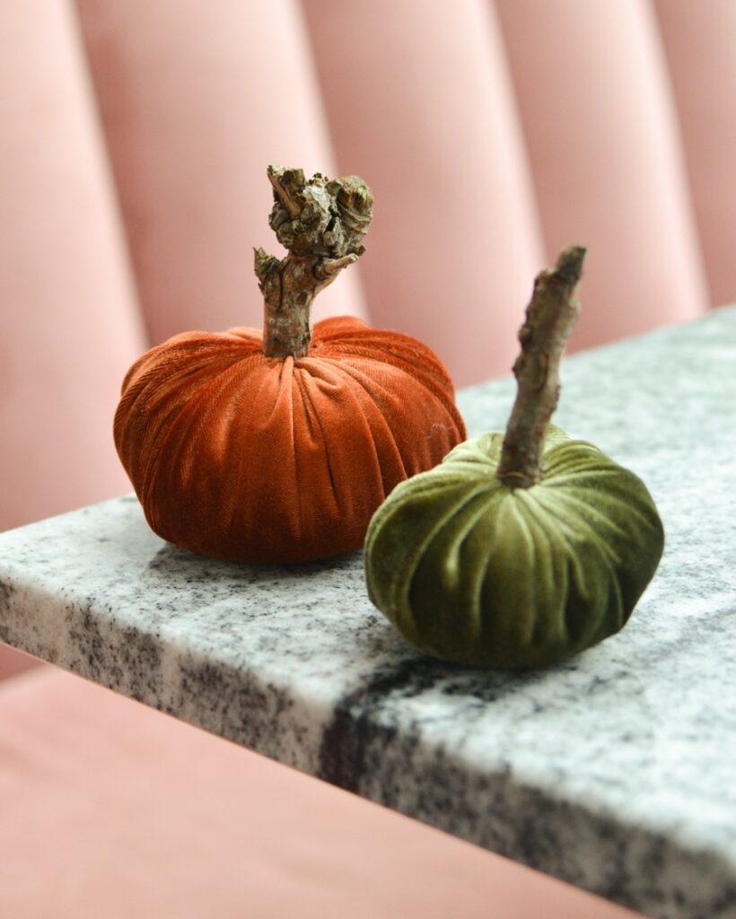 Halloween DIY velvet pumpkins
