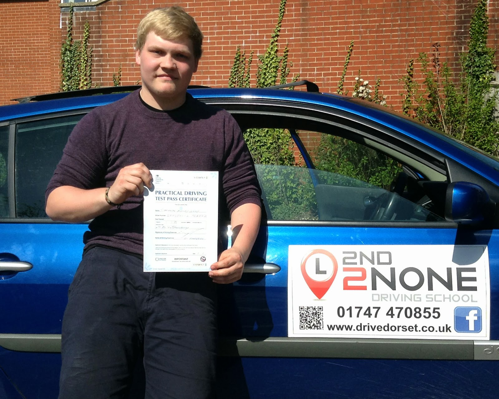 Well done Cameron Grey on passing your driving test 1st time
