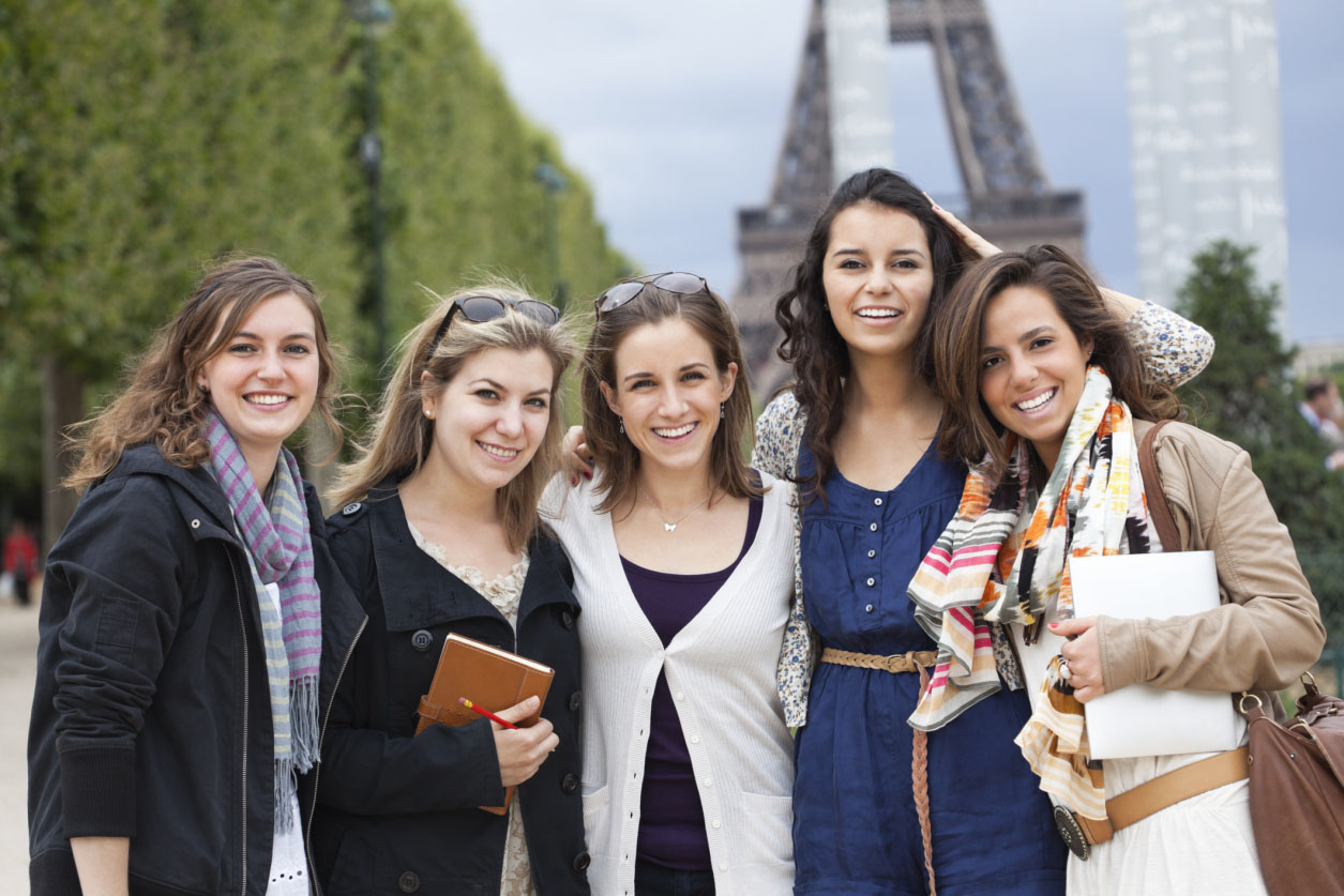 Group of female students, smiling