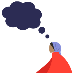 Illustration of muslim woman traveller thinking of travel plans