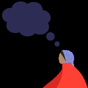 Illustration of muslim woman traveller thinking of travel plans
