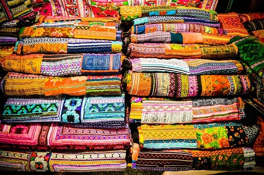 Traditional hill-tribe scarves Chiang Mai, Thailand