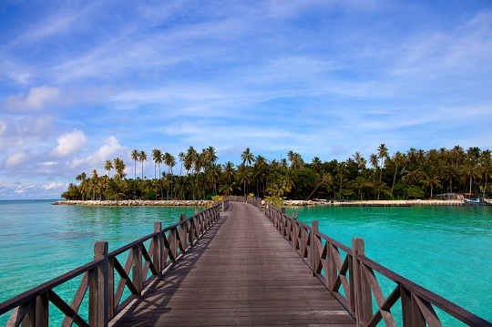 View of pier in mabul island beach, sabah