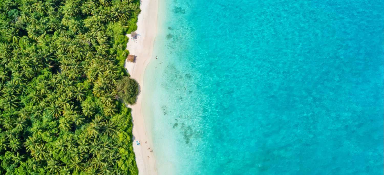 Aerial view of the Maldives halal resort