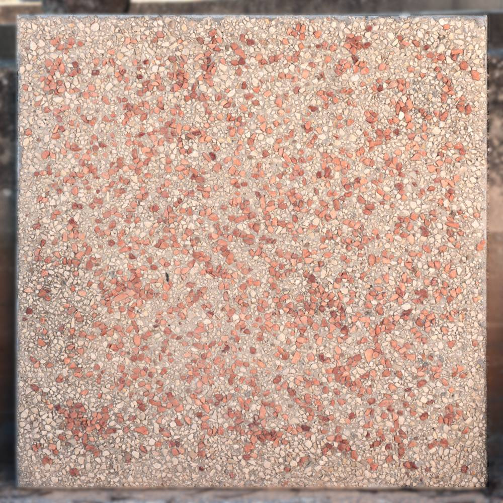 Finitura Ghiaia a vista naturale e rosso verona con base naturale