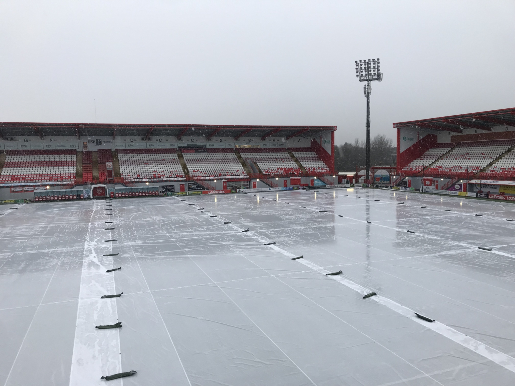 Hamilton FC protected from inclement weather by Matchsaver covers