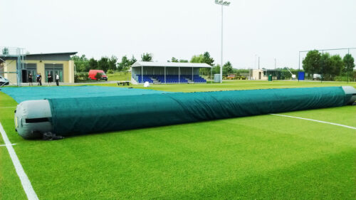 Matchsaver pitch covers being deployed