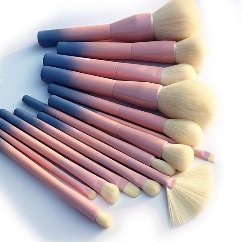 14 pcs Makeup Brushes Set - Pink - Eye Shadow Applicator