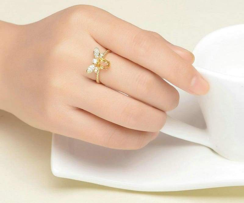 1ct Natural Oval Citrine Silver Ring - Rings