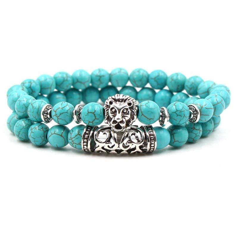 2PCS/Set Silver Color Buddha Bracelet - Lion 2 - Strand Bracelets