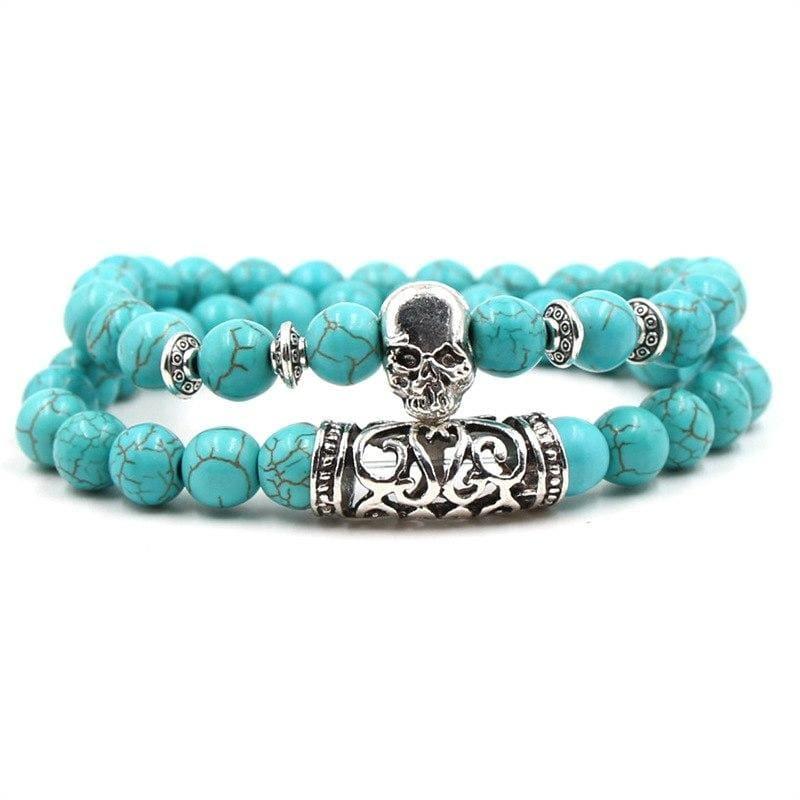 2PCS/Set Silver Color Buddha Bracelet - Skeleton - Strand Bracelets