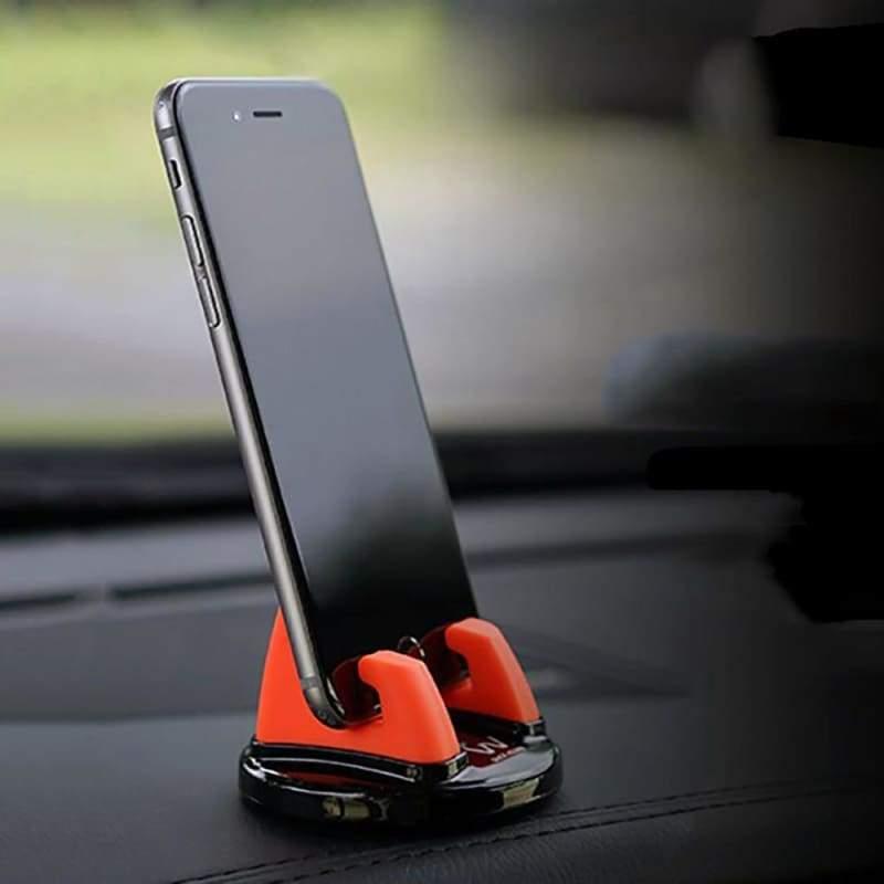 360 Degree Rotation Universal Phone Holder - Black - Anti-Slip Mat