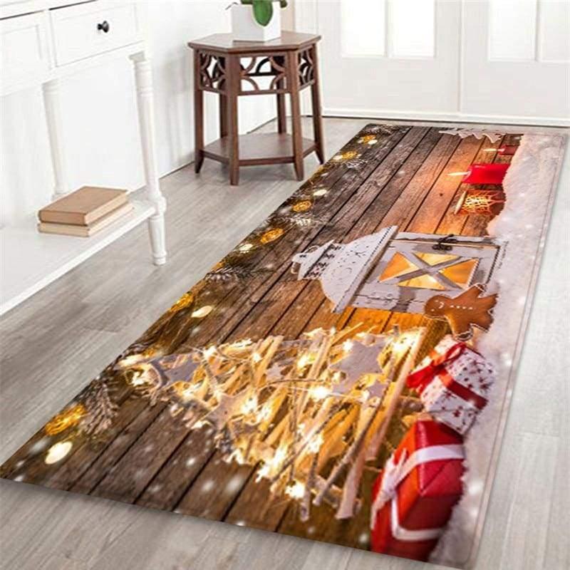 3D Christmas Santa Claus Anti-slip Kitchen Dinning Room Fireplace Floor Mat Flannel Carpet Rug Durable Xmas Home Decor Floor Rug