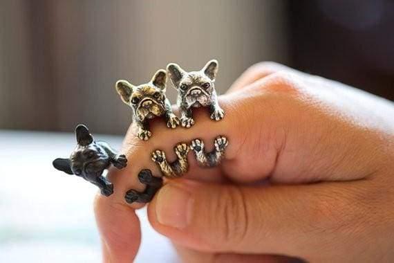 3D Handmade Wrap French Bulldog Ring - Resizable / Black Gun Plated - Rings