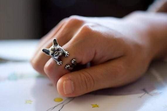 3D Handmade Wrap French Bulldog Ring - Rings