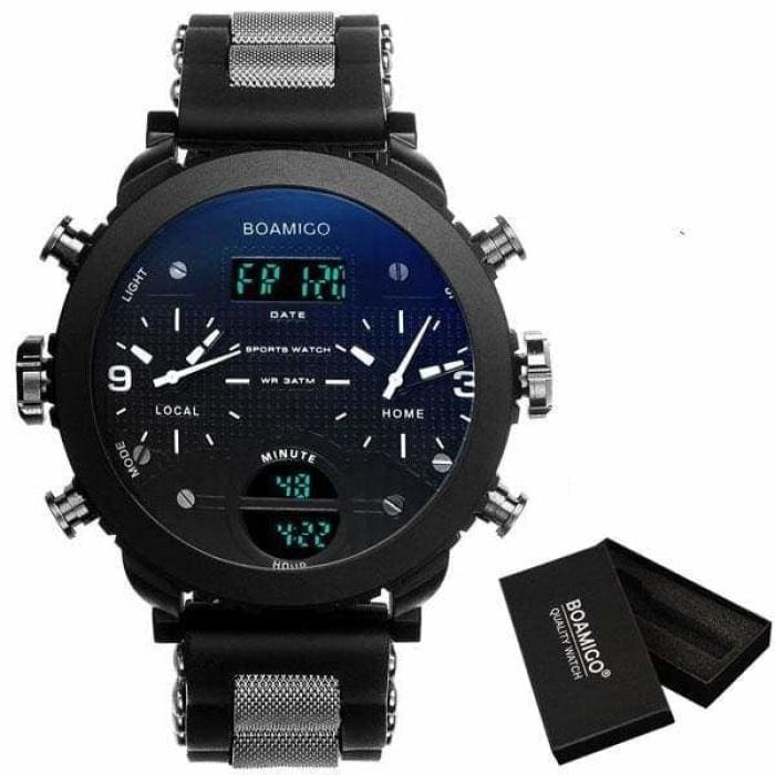 3 Time Zone Military Sports Watches - blue with box - Sports Watches