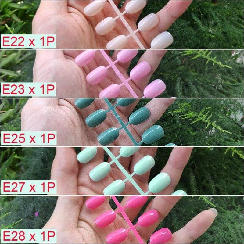 432 pcs/pack Mixed 18 Colors Full Short Round Nail Tips - B-5PCs Mix Colors - False Nails