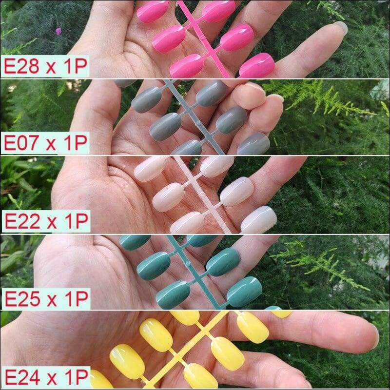 432 pcs/pack Mixed 18 Colors Full Short Round Nail Tips - D-5PCs Mix Colors - False Nails