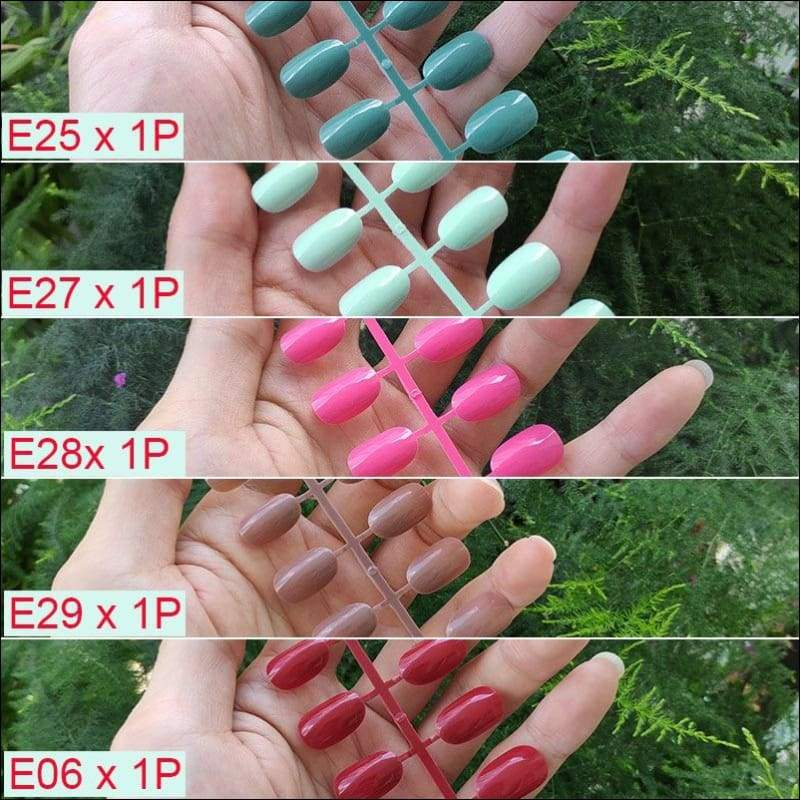 432 pcs/pack Mixed 18 Colors Full Short Round Nail Tips - E-5PCs Mix Colors - False Nails
