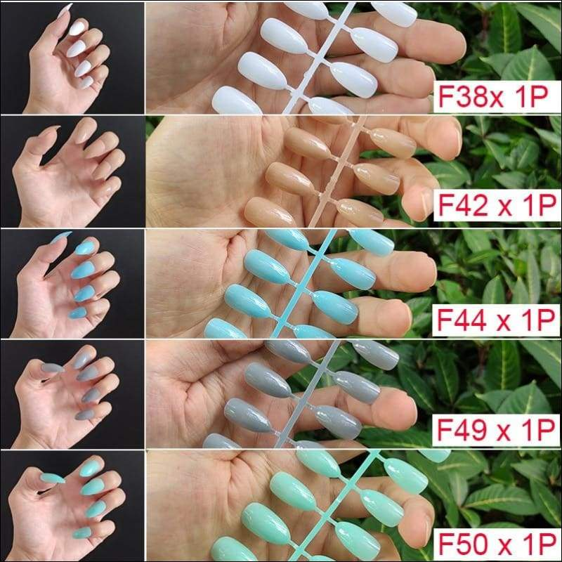 432 pcs/pack Mixed 18 Colors Full Short Round Nail Tips - F10-5PCs Mix Colors - False Nails