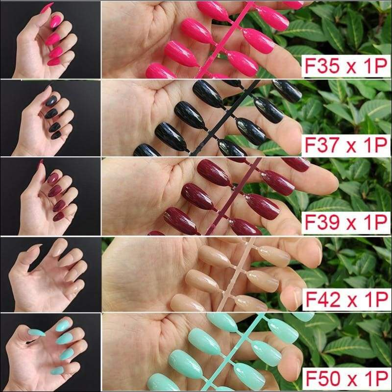 432 pcs/pack Mixed 18 Colors Full Short Round Nail Tips - F5-5PCs Mix Colors - False Nails