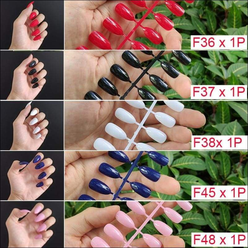 432 pcs/pack Mixed 18 Colors Full Short Round Nail Tips - F7-5PCs Mix Colors - False Nails
