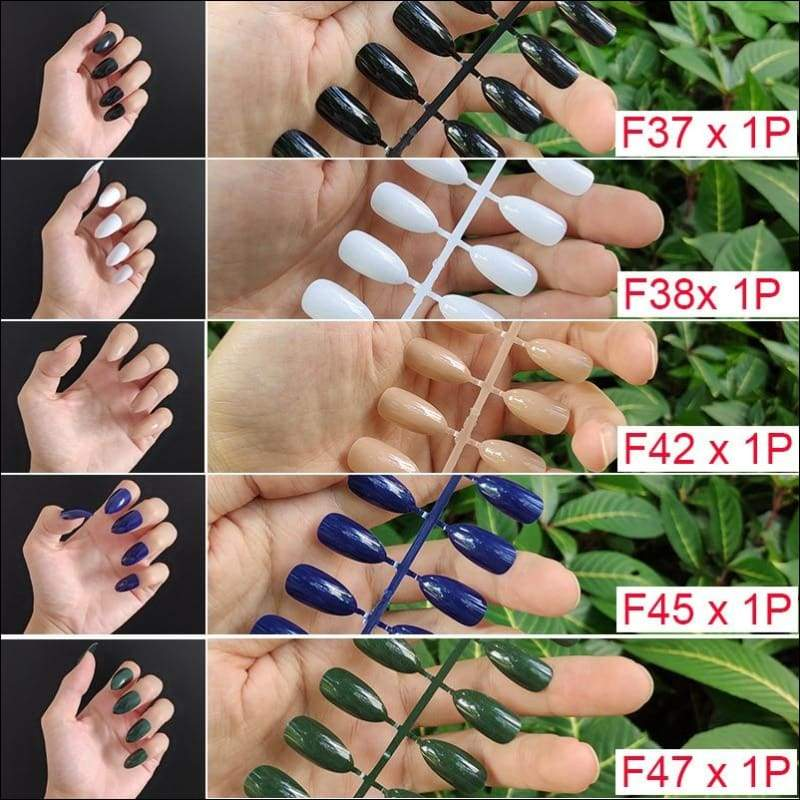 432 pcs/pack Mixed 18 Colors Full Short Round Nail Tips - F9-5PCs Mix Colors - False Nails