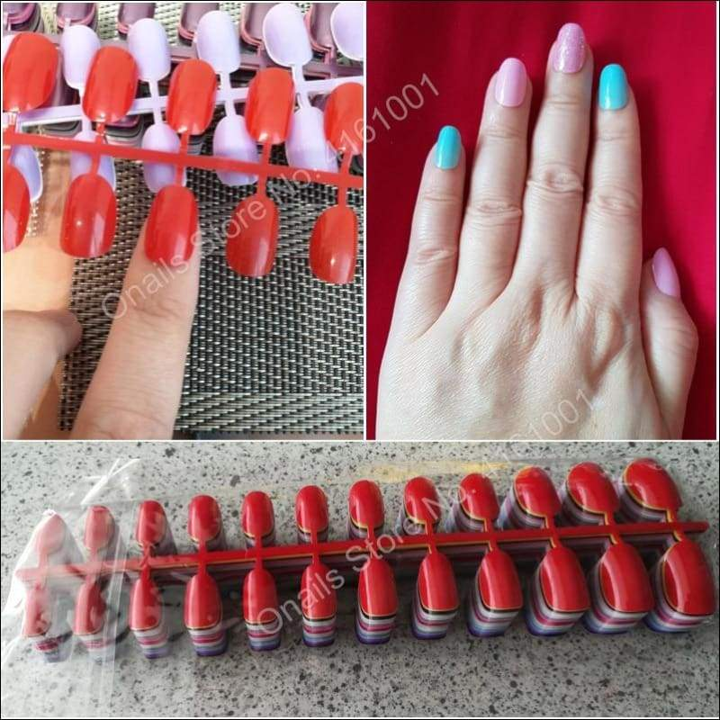 432 pcs/pack Mixed 18 Colors Full Short Round Nail Tips - False Nails
