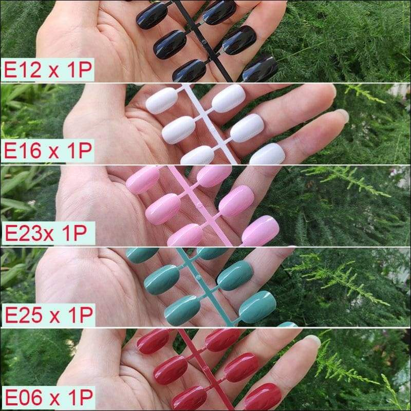 432 pcs/pack Mixed 18 Colors Full Short Round Nail Tips - G-5PCs Mix Colors - False Nails