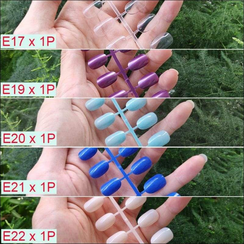 432 pcs/pack Mixed 18 Colors Full Short Round Nail Tips - H-5PCs Mix Colors - False Nails
