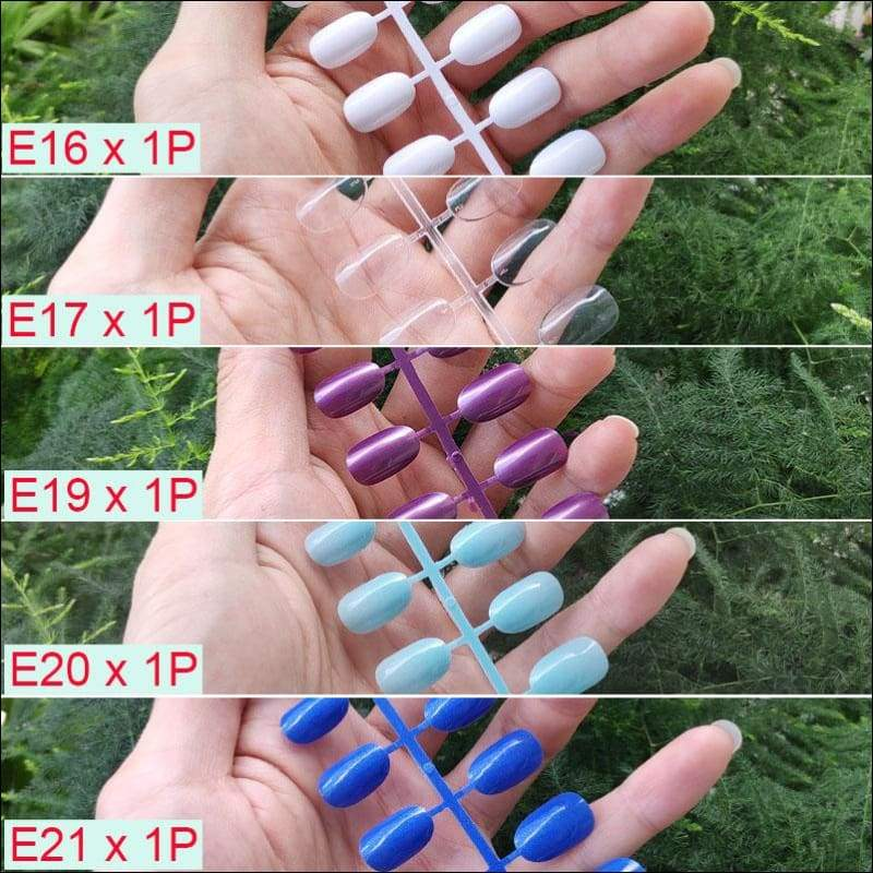 432 pcs/pack Mixed 18 Colors Full Short Round Nail Tips - J-5PCs Mix Colors - False Nails