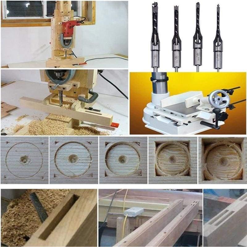 4Pcs square hole mortiser drill bit - Drill Bits