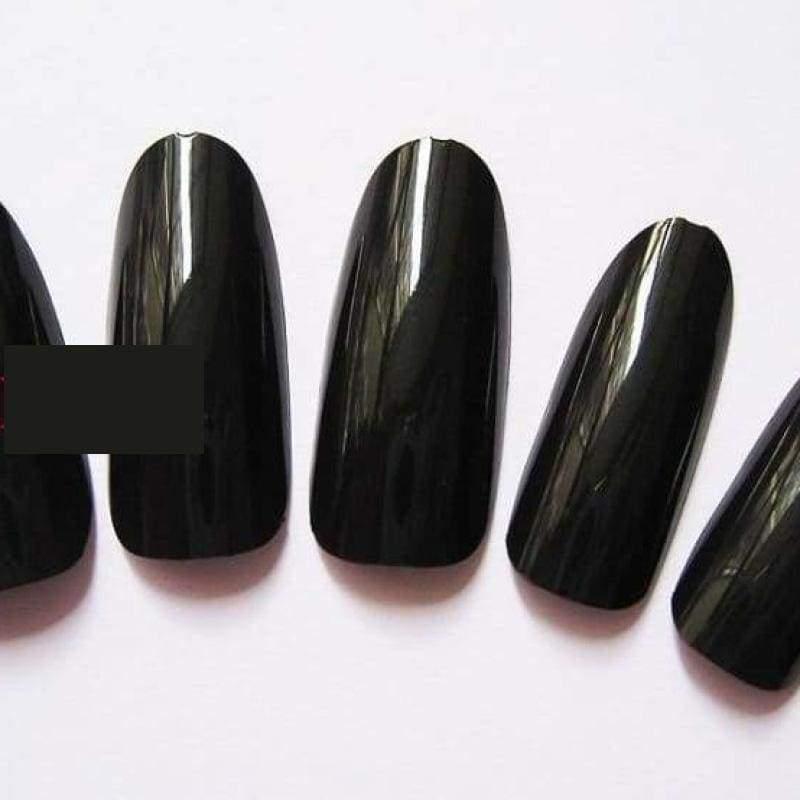 500 Pcs False Tips Nail Art Full Round Acrylic UV Gel Tip - Black - False Nails