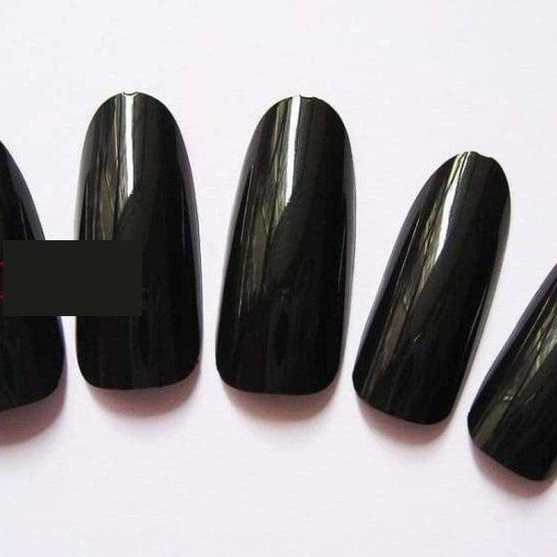 500 Pcs False Tips Nail Art Full Round Acrylic UV Gel Tip - Black - False Nails